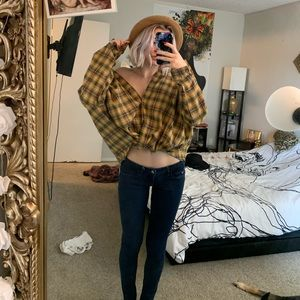 Shein loose flannel top